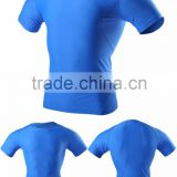 (OEM/ODM Factory)Blue Short sleeve quick dry breathable compression wear men compression wear quick dry running tops for men