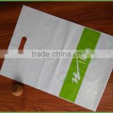 Custom made plastic LDPE shopping bag with die cut handle with own logo                                                                                                         Supplier's Choice