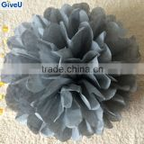 Gray Color D25cm 17gsm Tissue Paper Pompoms Wedding Decoration Centerpieces Party Decoration