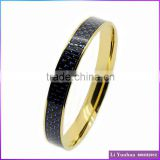 Hot sale high level stainless steel bangle bracelet gold plated round bangle blue carbon fiber with silver line