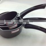 Black Aluminum Non-stick Pressed Saucepan Milk Cooking Pasta Noodle Soup Pot Cookware Set Long Bakelite Handle