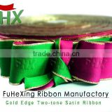 direct factory supply two color double face satin ribbon with gold edge for christmas decoration