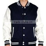 HDYK040 Wholesale 2014 Mens Cheap Custom Leather Sleeves and Satin Baseball College Varsity Jacket