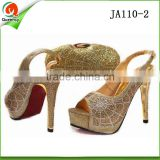 african sexy women high heel dress shoes italian women gold shoes and clutch bag to match
