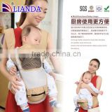 Multifunctional front and back hipseat belt for kids,Ergonomic design cotton carrier,100% Oranic Cotton ergonomic baby carrier