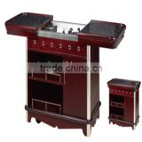 wooden serving trolley mobile food cart Flambe trolley