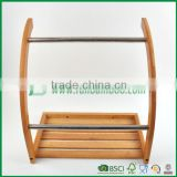 Fuboo--Bamboo wall mounting shelf with 2 towel bars