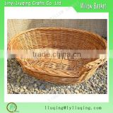 Wholesale Honey color Oval Wicker Pet Basket Beds Wicker Dog cat Bunk Bed