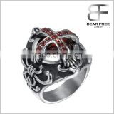 Men's Stainless Steel Jesus of Christ Ring CZ Silver Black Red Ruby Cross Knight Fleur De Lis Engraved Vintage