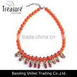 fashionable jewelry orange beaded chain with mix color crystal pendant choker necklace jewelry 2016