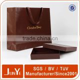 Gift packing waterproof paper bag handmade paper straw bag hot stamping kraft paper bag with ribbon handle