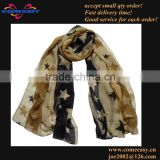 new women fashion long style army green star pattern scarf