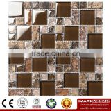 IMARK Mixed Color Marble Mosaic Tiles and Crystal Glass Mosaic Tiles Code IXGM8-101