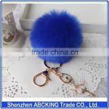 8CM Rabbit Fur Ball Keychain with Angel Gold Plated Metal Angel Key chain