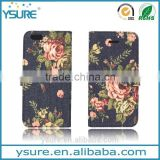 Flower Pattern Fabric Leather Phone Case For Alcatel One Touch POP C7 With PVC ID and credit card slots