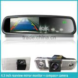 4.3 inch display screen rearview mirror monitor with Auto dimming and reverse camera display