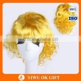 Gold small head curly wig, lady short hair wig blonde