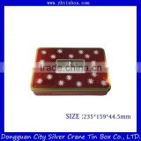 Decorative cookie tin box/rectangular fancy cookie tin container/tin box for food packaging