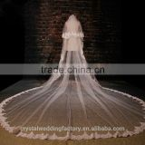 2015 Hot sale long lace cathedral wedding veils accessories 5 meters long and 3 meters width LV01