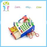 Wholesale hot sale high quality wooden kids mini Calculator Cash Register preschool wooden educational toys