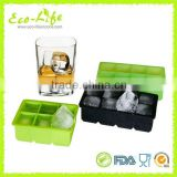 8 Cavity Food Grade Square Silicone Ice Cube Tray Mold for Whisky Beer