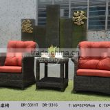 PE wicker single folky style classic waterproof red cushions with tea table brown sofa outdoor furniture