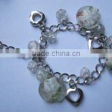 Heart charm with glass beads bracelet