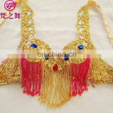 YD-023 Fashion butterfly design beaded and sequins belly dance bra