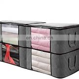 4 Large Capacity Clothes non woven Foldable Storage Bag Organizers with Clear Window for Comforters, Clothes, Blankets, Bedding