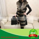 Women 100% Natural Raccoon Fur & Rabbit Pelt Leather Clothing