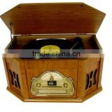 Back to 60s-Style! Wooden Gramophone&Multi Turntable&Jukebox Records with AUX Input/CD Player/AM,FM Radio/Cassette