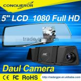 2016 rearview mirror with DVR Romote radar detector combo 3 in 1 car DVR rearview mirror