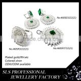925 sterling silver jewelry set with AAA cz micro pacve/prong nigeria african beads jewelry set