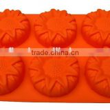 YangJiang factory manufacture wholesale sunflower shaped silicone molds for DIY cake or chocolate