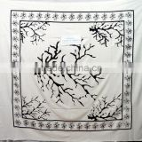 Cotton Tapestry full size white Indian gypsy Tapestry hand block wall hanging