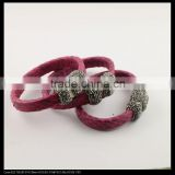 LFD-B0037Plum Color Snakeskin with Rhinestone Paved Gemstone Magnetic Clasp Snakeskin Bangle, Charm Jewelry Cuff Bangle