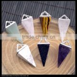 LFD-0042P ~ wholesale Rose Quartz/Amethyst/Agate Pyramid Reiki Charm Beads Stone Crystal Pendant Jewelry Finding