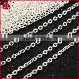 14 Inch Silver Plated Copper Finished Chain Necklace Finding Golden Flat Cable Chain With Losbter Clasp