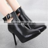 Black women pointy toe high heel knee high boots Pencil high heel 9cm shoes