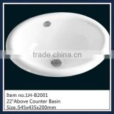 Cheap white lavabo counter mounting basin