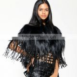 "Unique European Style Cape Fur Leather Tassels Vintage Latest Women Fashion Winter 2013 ""11"""