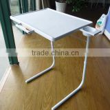 2015 New design plastic folding table with cup holder and drawer