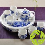 Chinese 8pcs family teaset kitchen teaset with 350ml ceramic teapot 6pcs 100ml teacup and clay tea tray