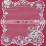 Guangzhou Soft White Wedding Mat With Pearls Beads Manufacture