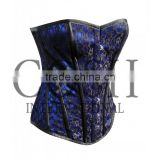 Overbust Steel Boned Waist Trainer Satin Mesh Corset In Blue And Black Ci-1155