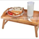 Bamboo bed tray/Bamboo serving tray with hole/ folding Legs/Handles