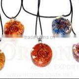 Orgone Oval Pendant Chakra Set | Orgone Set- Orgonite Pendant-Orgone Energy (With Cord) | Orgone-Wholesale