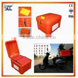 60L Orange plastic insulated delivery box for food, fast food, sushi food