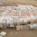 mixed color sandstone slab sandstone cobblestone tile / natural stone pavers for Sale