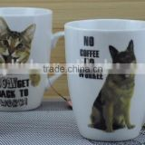 11OZ dog and cat design two sides decal print coffee cups, shiny surface new bone china mug, KL8298009